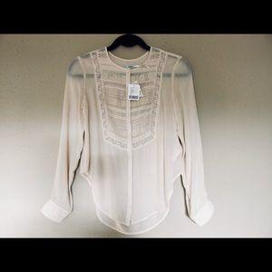 Romantic Slim Fit Lace Bib Blouse Ivory XS NWT